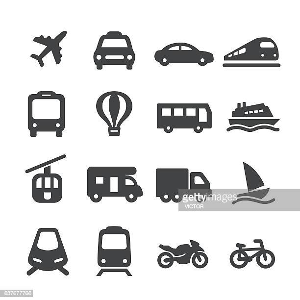transportation icons set - acme series - sports training stock illustrations