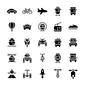 Transportation icons set in flat style.