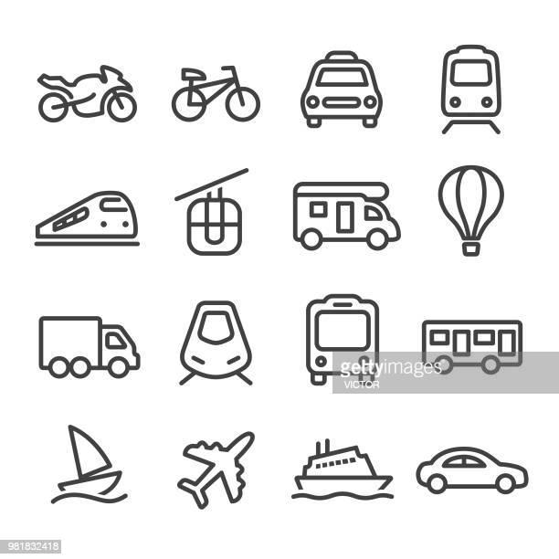 illustrations, cliparts, dessins animés et icônes de transport icons set - série en ligne - camping car