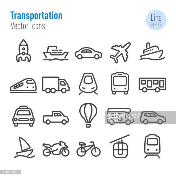 illustrations, cliparts, dessins animés et icônes de ensemble de graphismes de transport-série de ligne vectorielle - camping car