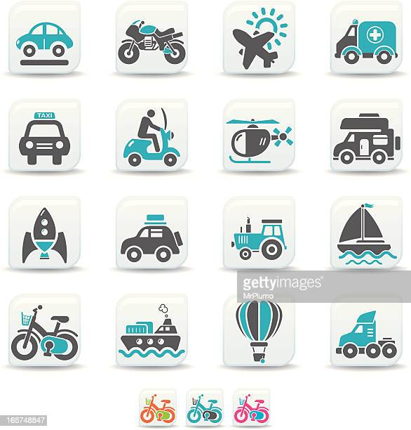 transportation icons | simicoso collection - moped stock illustrations, clip art, cartoons, & icons