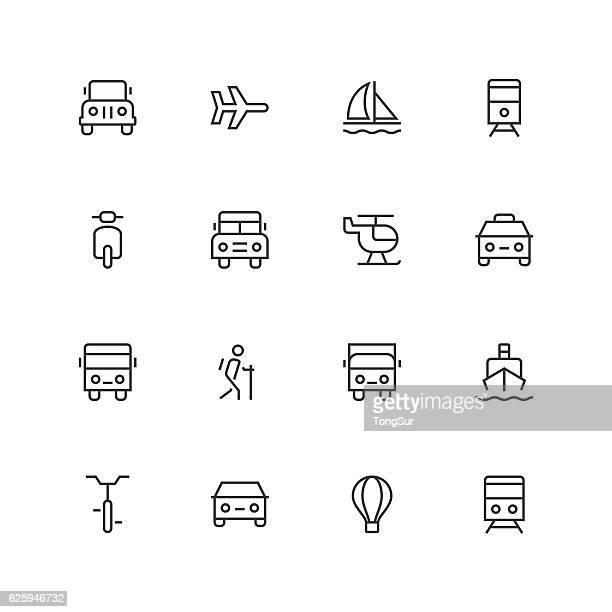 Transportation Icons  - Unique  - Line Series