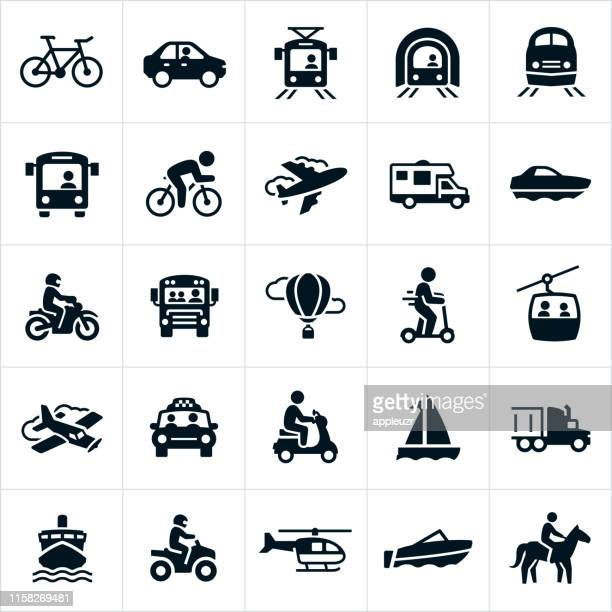 transportation icons - bicycle stock illustrations