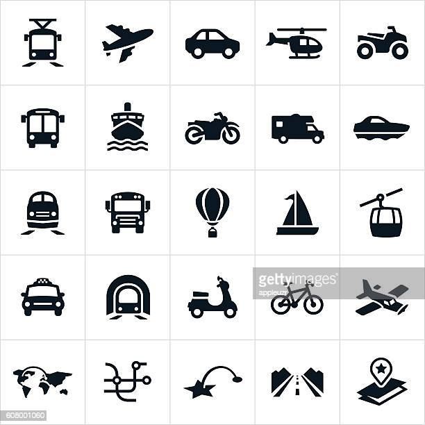 transportation icons - commercial land vehicle stock illustrations