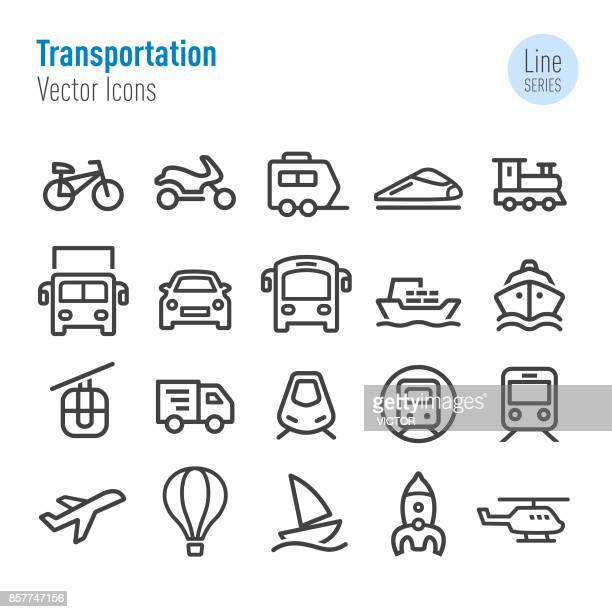 transportation icons - vector line series - train vehicle stock illustrations