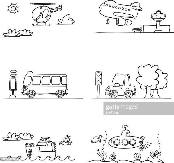 transportation in black and white - submarine stock illustrations