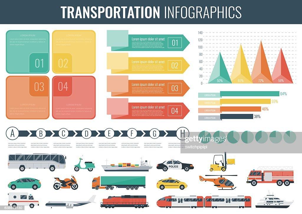 Transportation Infographics set. Individual and public transport