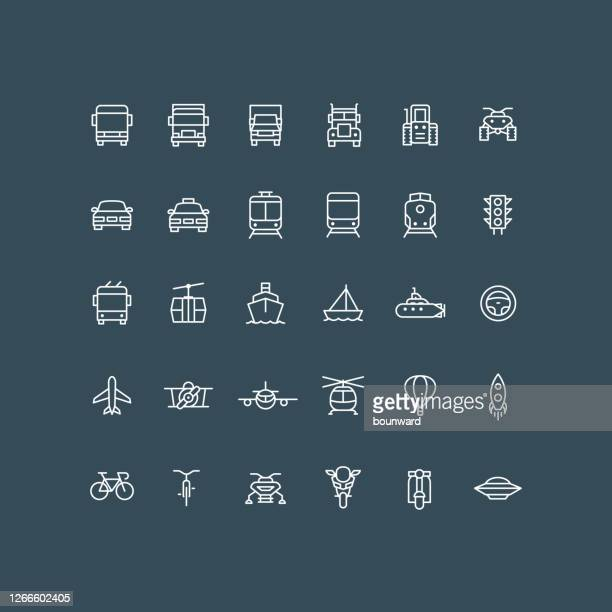 transportation line icons editable stoke - front view stock illustrations