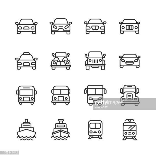 transportation line icons. editable stroke. pixel perfect. for mobile and web. contains such icons as transportation, car, vehicle, train, cruise ship, bus, delivery, logistics. - train vehicle stock illustrations