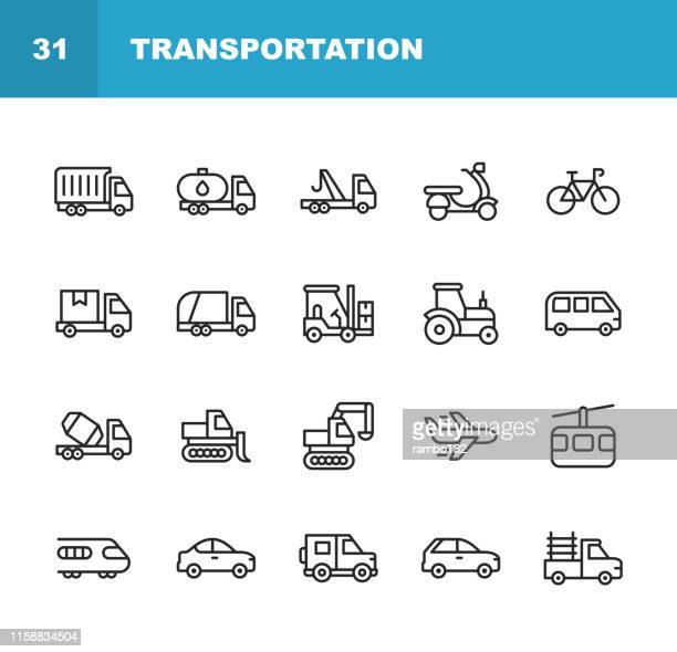 transportation line icons. editable stroke. pixel perfect. for mobile and web. contains such icons as truck, motorbike, bicycle, tractor, plane, train, vehicle, transport. - train vehicle stock illustrations