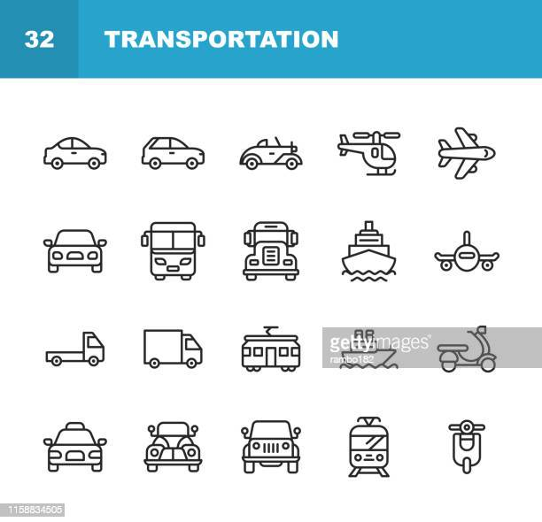 transportation line icons. editable stroke. pixel perfect. for mobile and web. contains such icons as helicopter, plane, car, transport, vehicle, boat, train, tram, cruise ship. - airplane stock illustrations