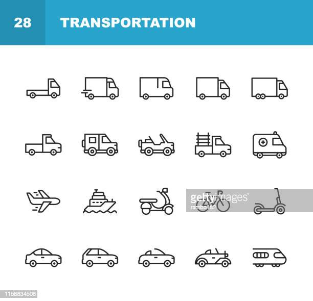 transportation line icons. editable stroke. pixel perfect. for mobile and web. contains such icons as truck, car, vehicle, shipping, sailboat, plane, motorbike, bicycle. - car stock illustrations