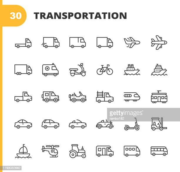 transportation line icons. editable stroke. pixel perfect. for mobile and web. contains such icons as truck, car, vehicle, shipping, sailboat, plane, motorbike, bicycle. - train vehicle stock illustrations