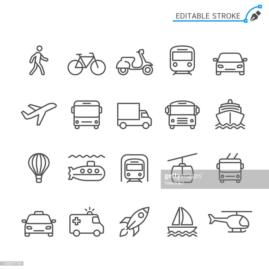 Transportation line icons. Editable stroke. Pixel perfect.