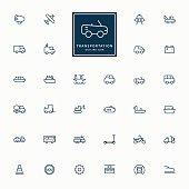 32 transportation line icons