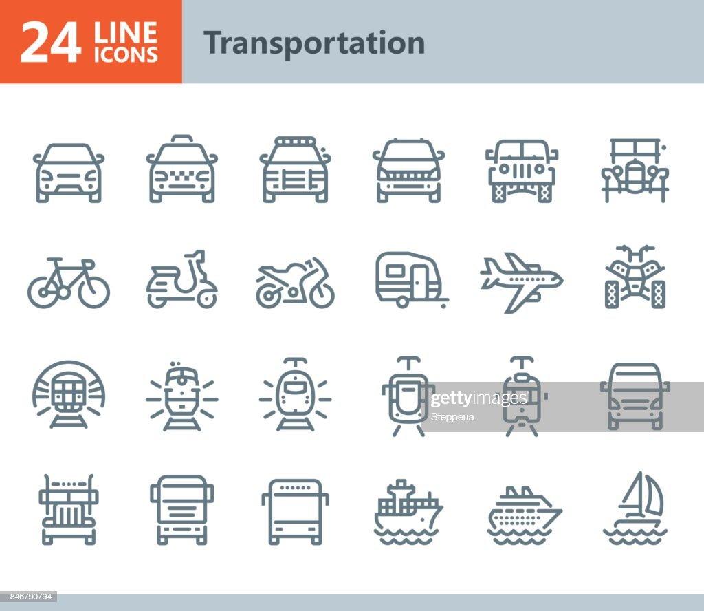 Transport - Linie Vektor-icons : Stock-Illustration