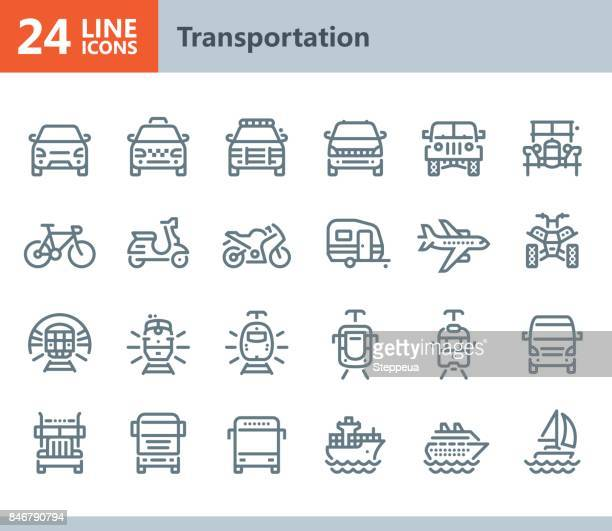 transportation - line vector icons - train vehicle stock illustrations