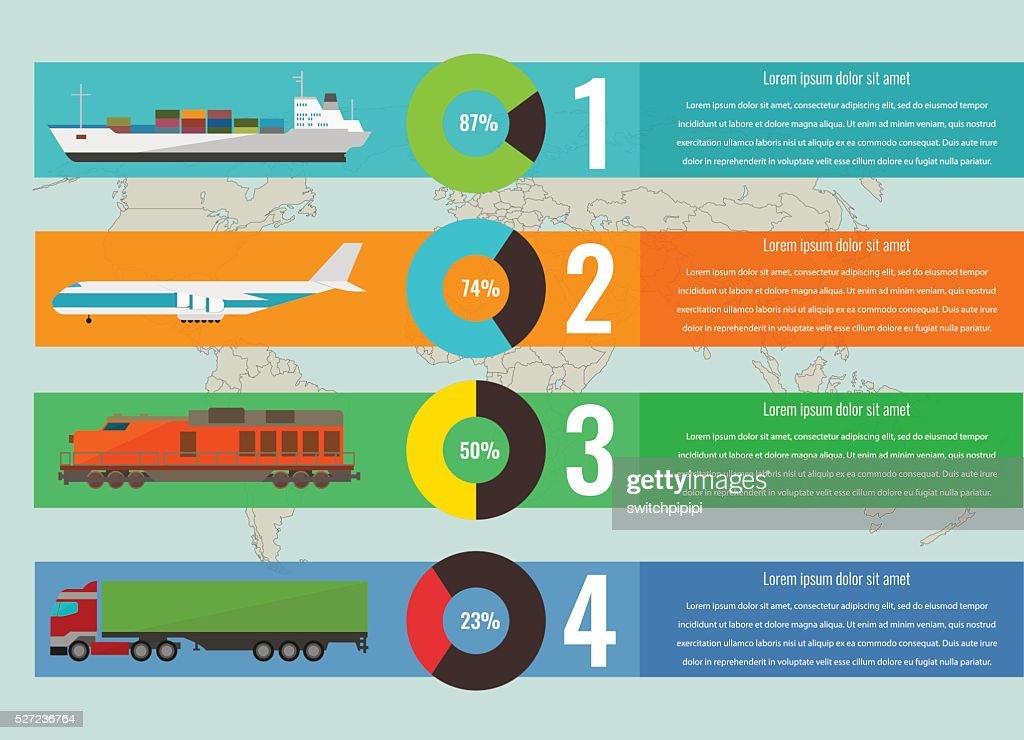 Transportation logistics concept with infographics elements. Vector