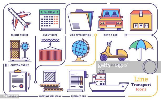transportation management system vector flat line icon set - tariff stock illustrations