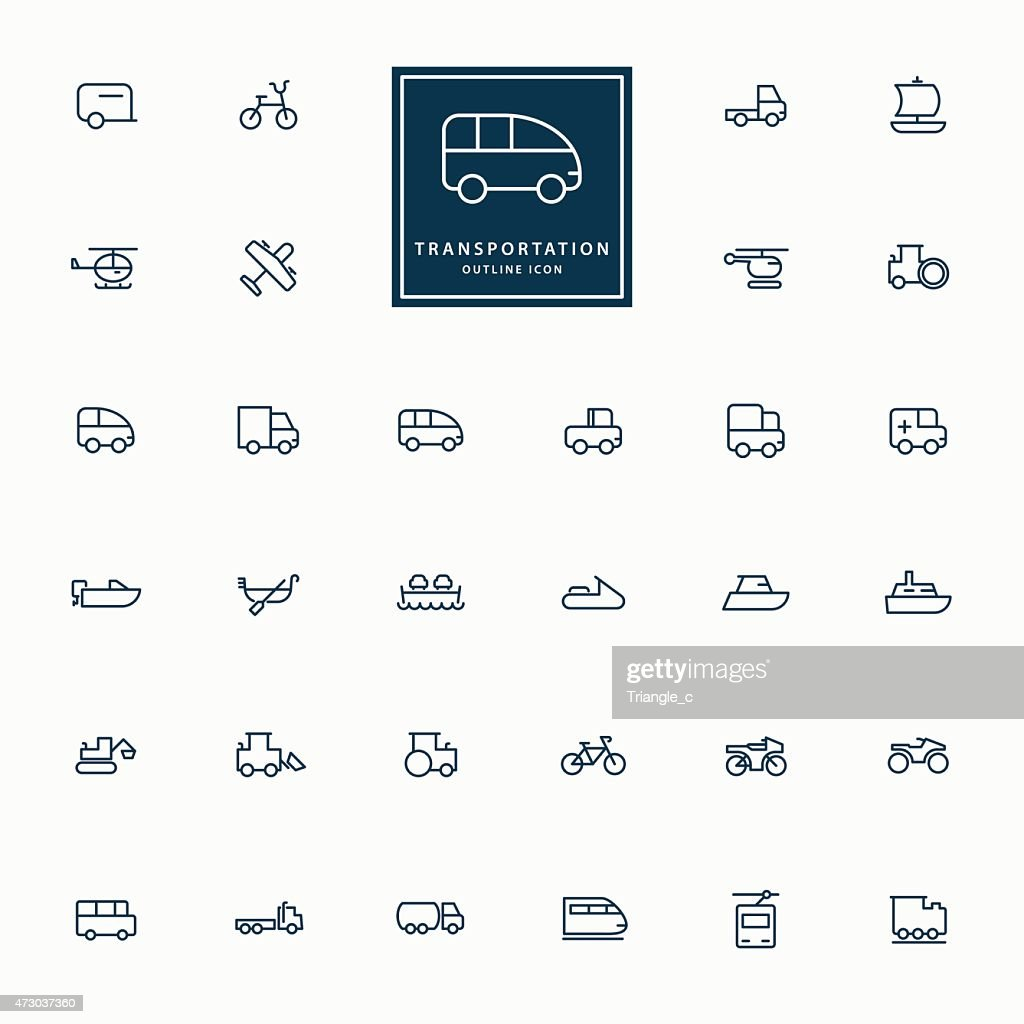 32 transportation minimal outline icons