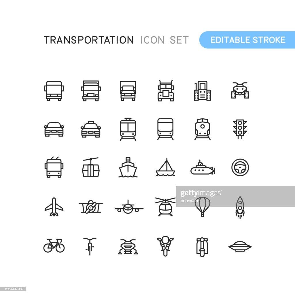 Transportation Outline Icons Editable Stoke : Stock Illustration