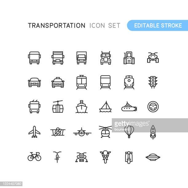 stockillustraties, clipart, cartoons en iconen met transport outline iconen bewerkbaar stoke - frontaal