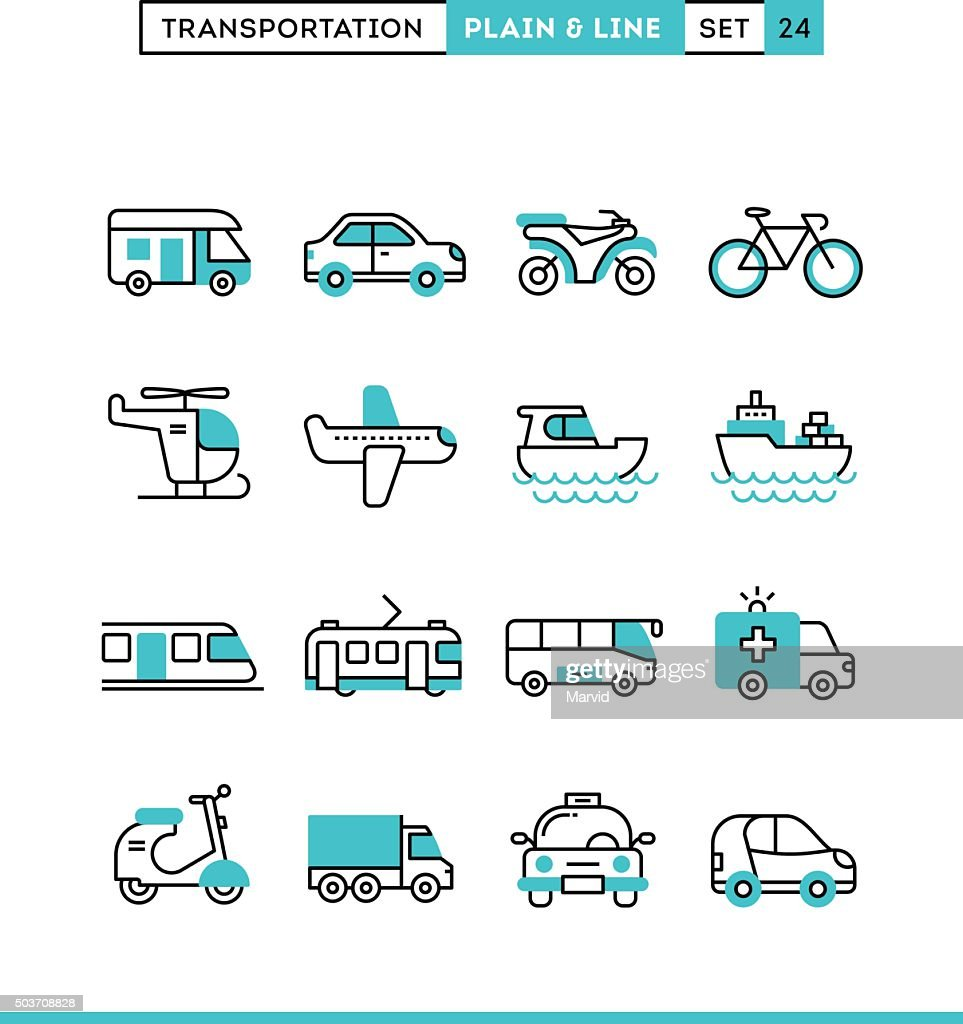 Transportation. Plain and line icons set, flat design