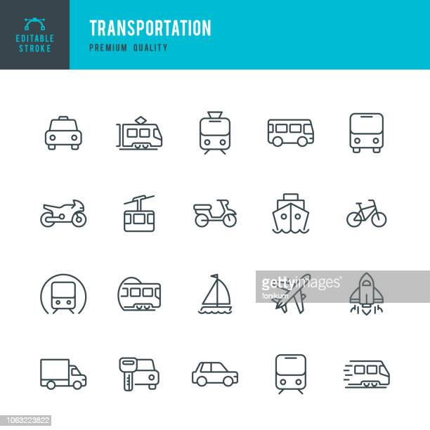 stockillustraties, clipart, cartoons en iconen met vervoer - lijn vector icons set - auto