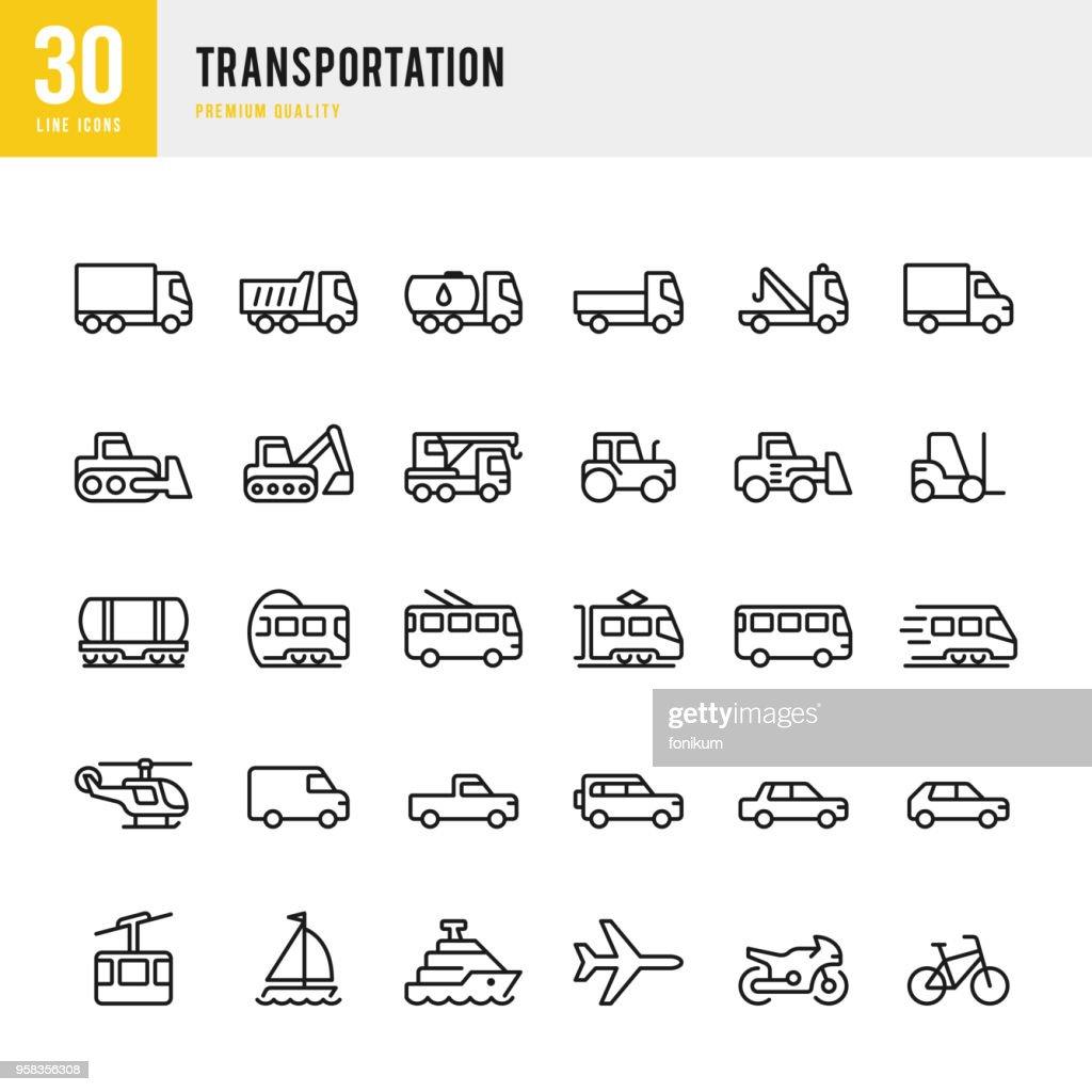 Vervoer - lijn vector icons set : Stockillustraties