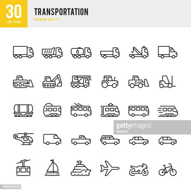 stockillustraties, clipart, cartoons en iconen met vervoer - lijn vector icons set - tram
