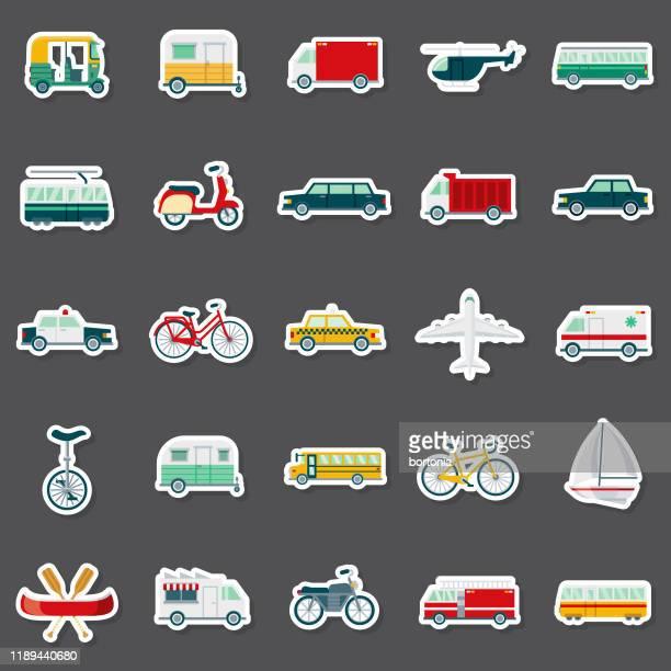 ilustrações, clipart, desenhos animados e ícones de conjunto de adesivos de transporte - meio de transporte