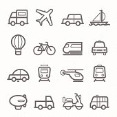 transportation symbol line icon set