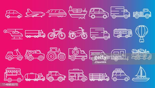 transportation themed icon set in outline line art style - moped stock illustrations, clip art, cartoons, & icons