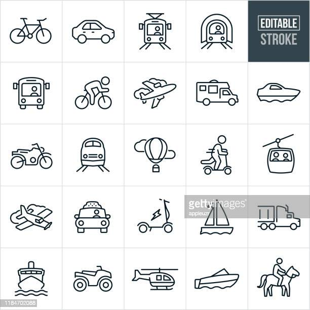 transportation thin line icons - editable stroke - bicycle stock illustrations