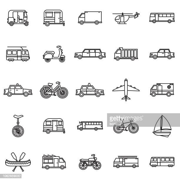 transportation thin line outline icon set - unicycle stock illustrations, clip art, cartoons, & icons