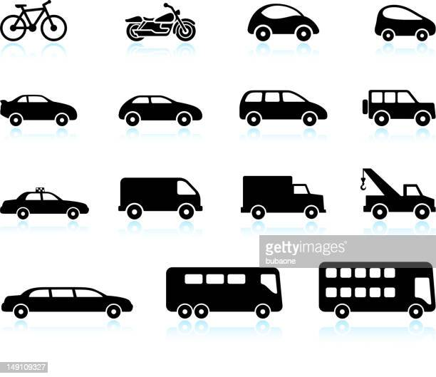 transportation vehicles black and white royalty free vector icon set - sedan stock illustrations, clip art, cartoons, & icons