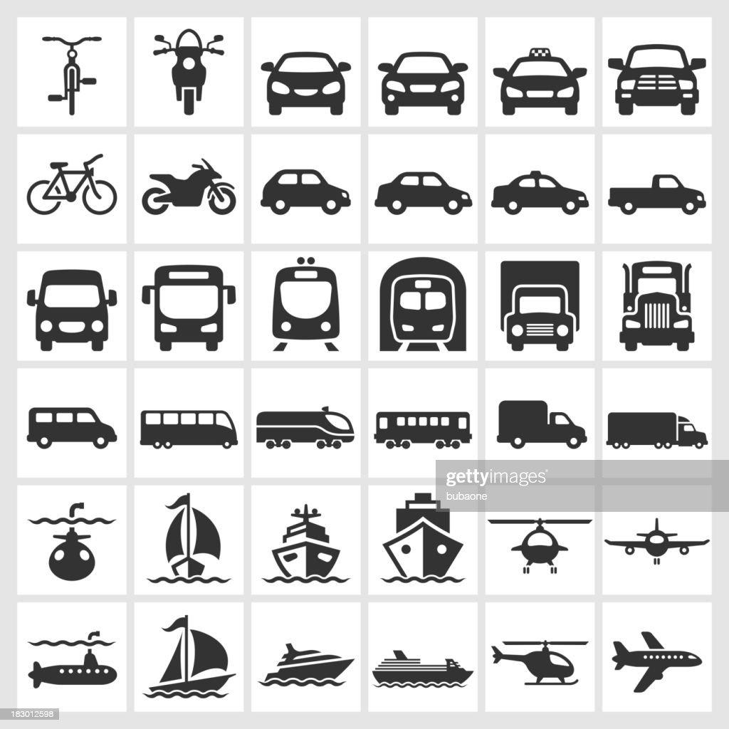 Transportation Vehicles Black White Royalty Free Vector