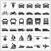 Transportation Vehicles Black & White royalty free vector icon set