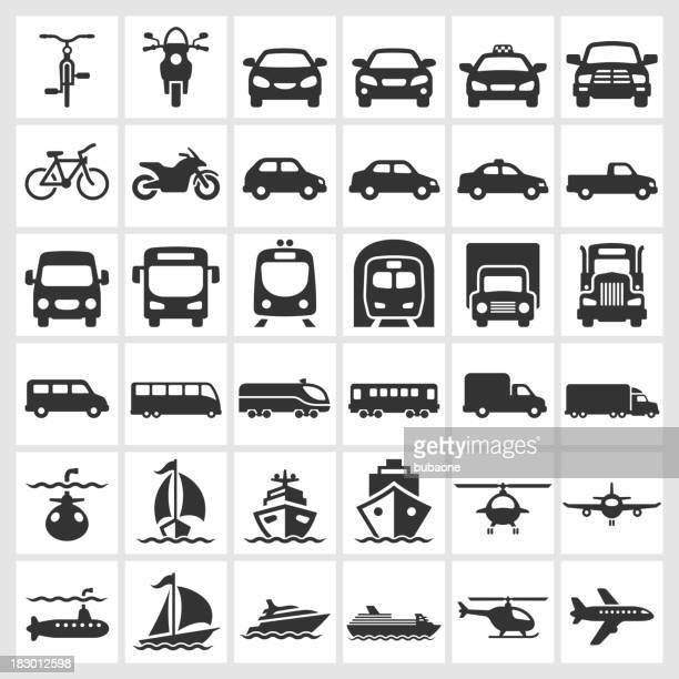 transportation vehicles black & white royalty free vector icon set - train vehicle stock illustrations