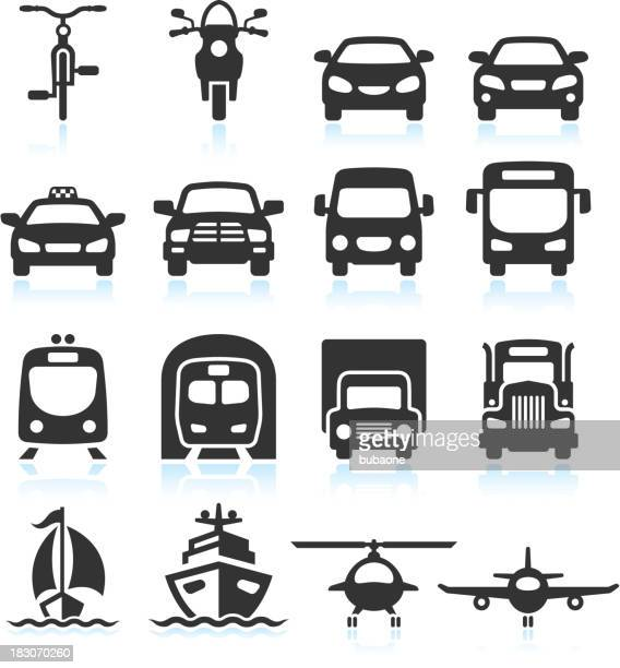stockillustraties, clipart, cartoons en iconen met transportation vehicles black & white royalty free vector icon set - frontaal