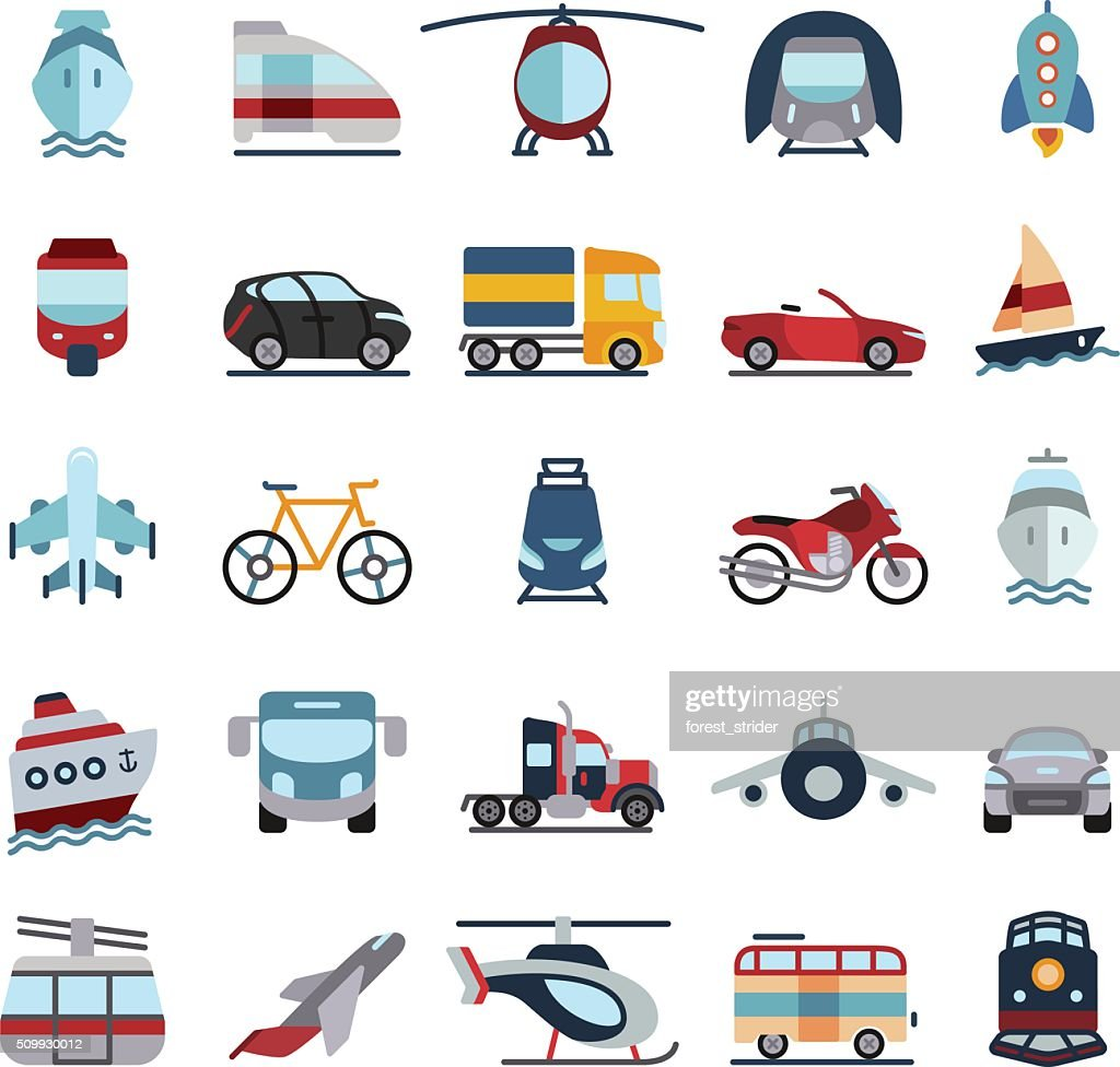 Transportation Vehicles Flat Icons