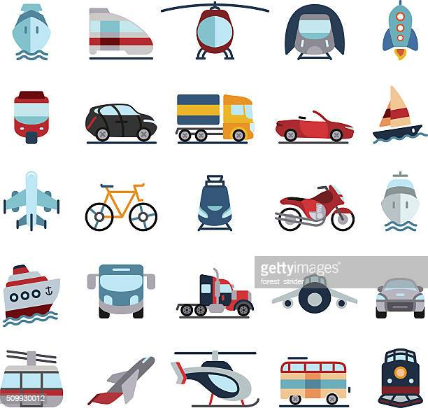 Transportation Vehicles Flat Icons