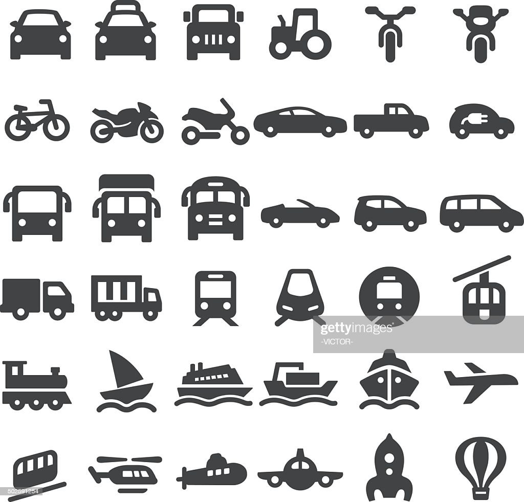 Transportation Vehicles Icons - Big Series : Stockillustraties