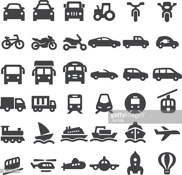 transportation vehicles icons - big series - land vehicle stock illustrations
