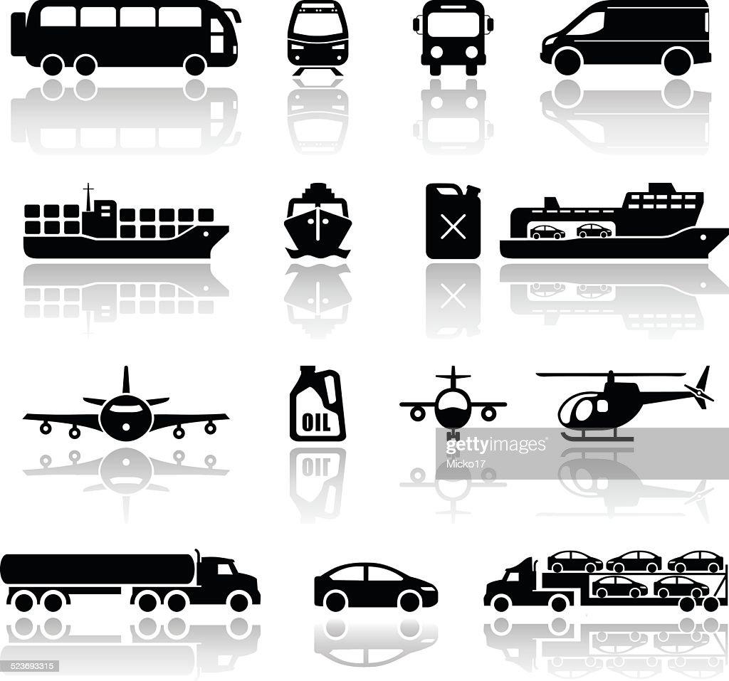 Transportation vehicles icons. Vectors