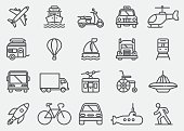 Transportation Vehicles Line Icons