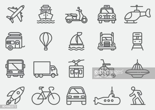 transportation vehicles line icons - hot air balloon stock illustrations, clip art, cartoons, & icons