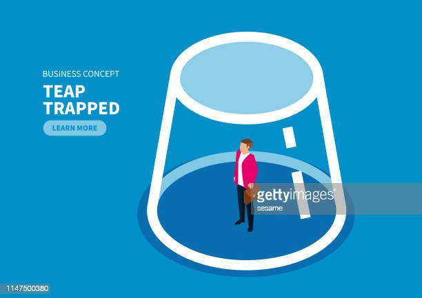 trap, businessman is enclosed inside a glass bottle - phobia stock illustrations, clip art, cartoons, & icons