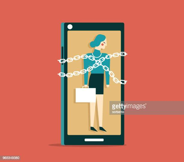 trapped - businesswoman - addiction stock illustrations, clip art, cartoons, & icons