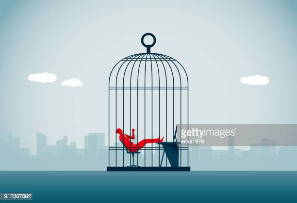 trapped - birdcage stock illustrations, clip art, cartoons, & icons